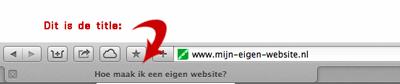 de title van een pagina komt o.a. op je browsertabblad te staan
