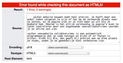 uitkomst w3c validator check